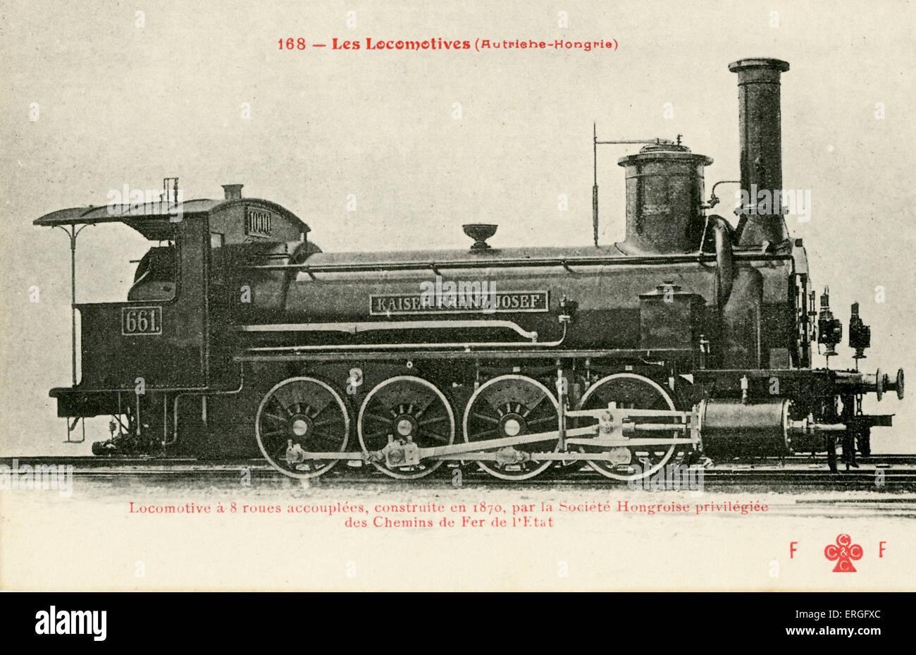 Transporte ferroviario de Austro-Húngaros. Se unió con 8 ruedas. Construido en 1870 por Ferrocarriles Imagen De Stock