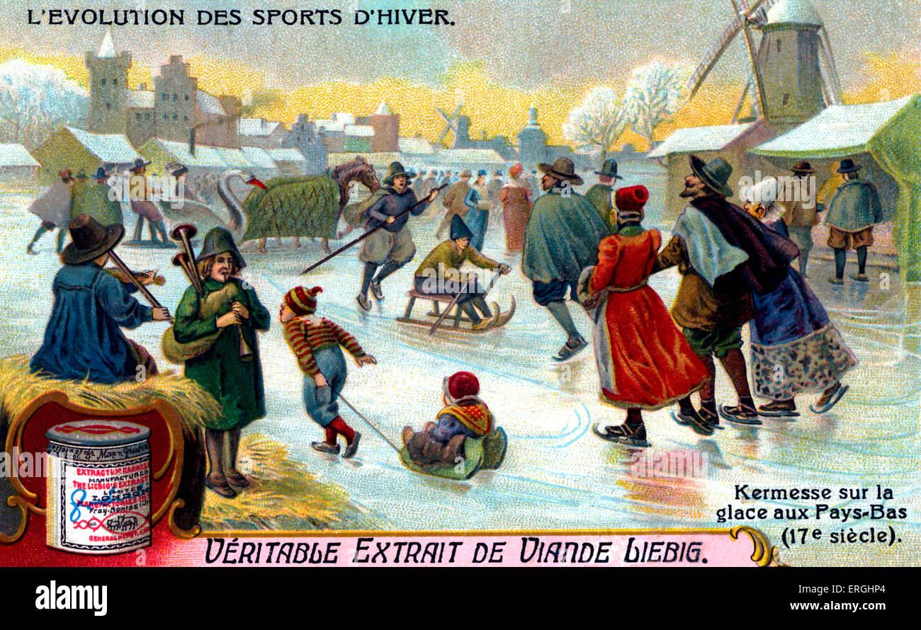 La evolución de los deportes de invierno: Kermesse sobre el hielo en los Países Bajos, del siglo XVII. Imagen De Stock