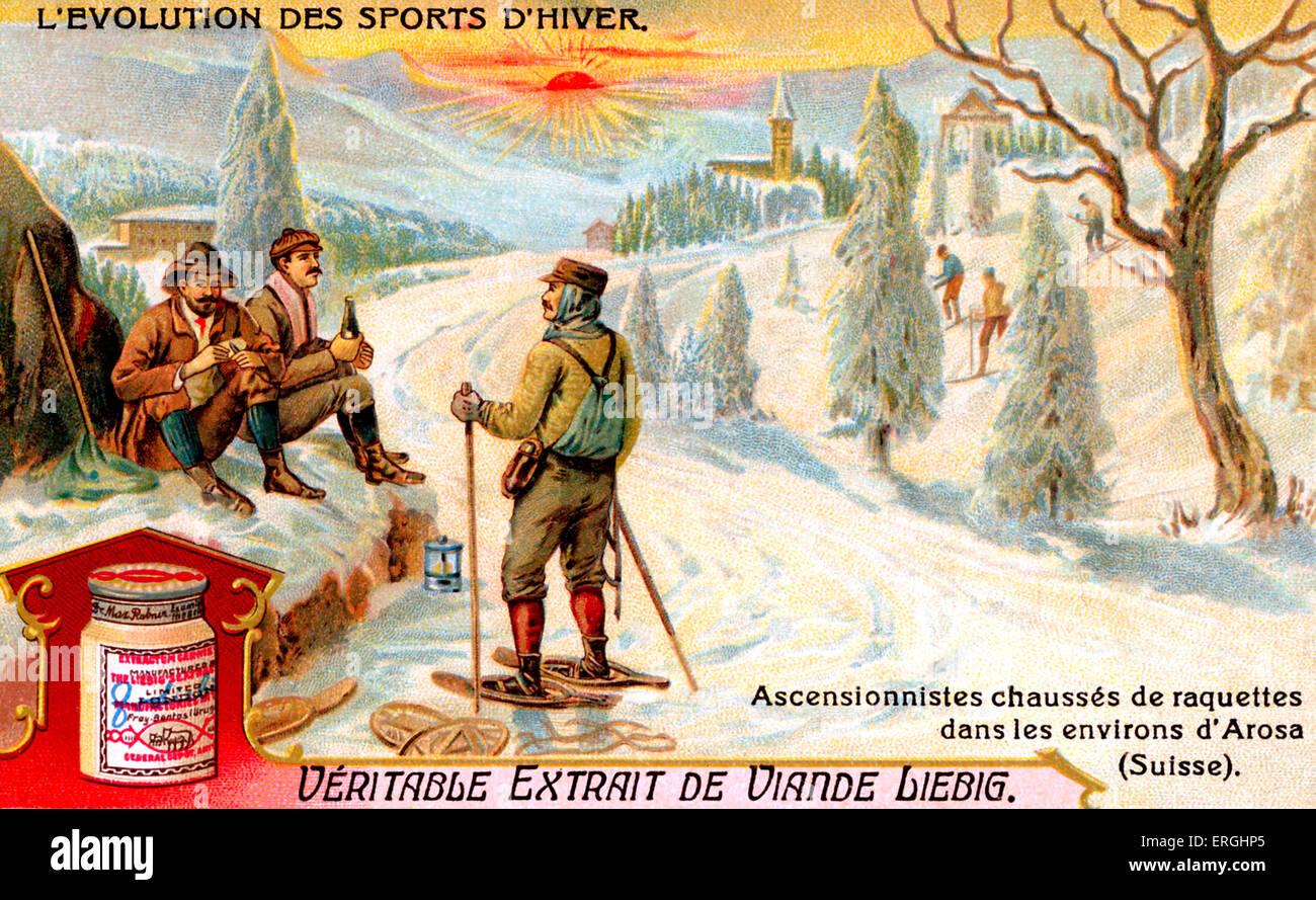 La evolución de los deportes de invierno: escaladores vistiendo raquetas de nieve cerca de Arosa, Suiza. Extracto Imagen De Stock