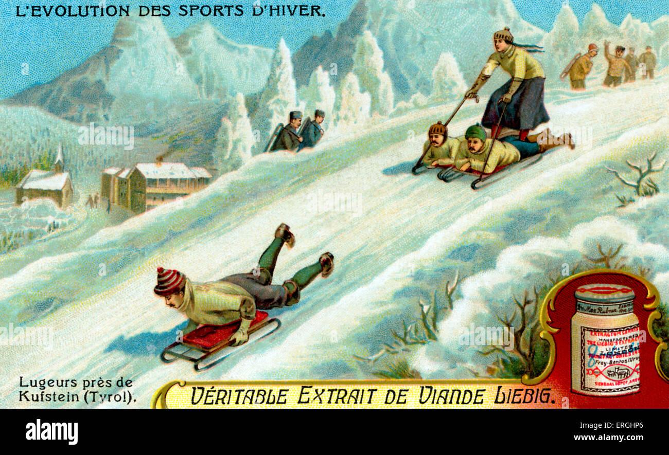 La evolución de los deportes de invierno: Lugers cerca de Kufstein en el Tirol. Extracto de carne Liebig serie Imagen De Stock