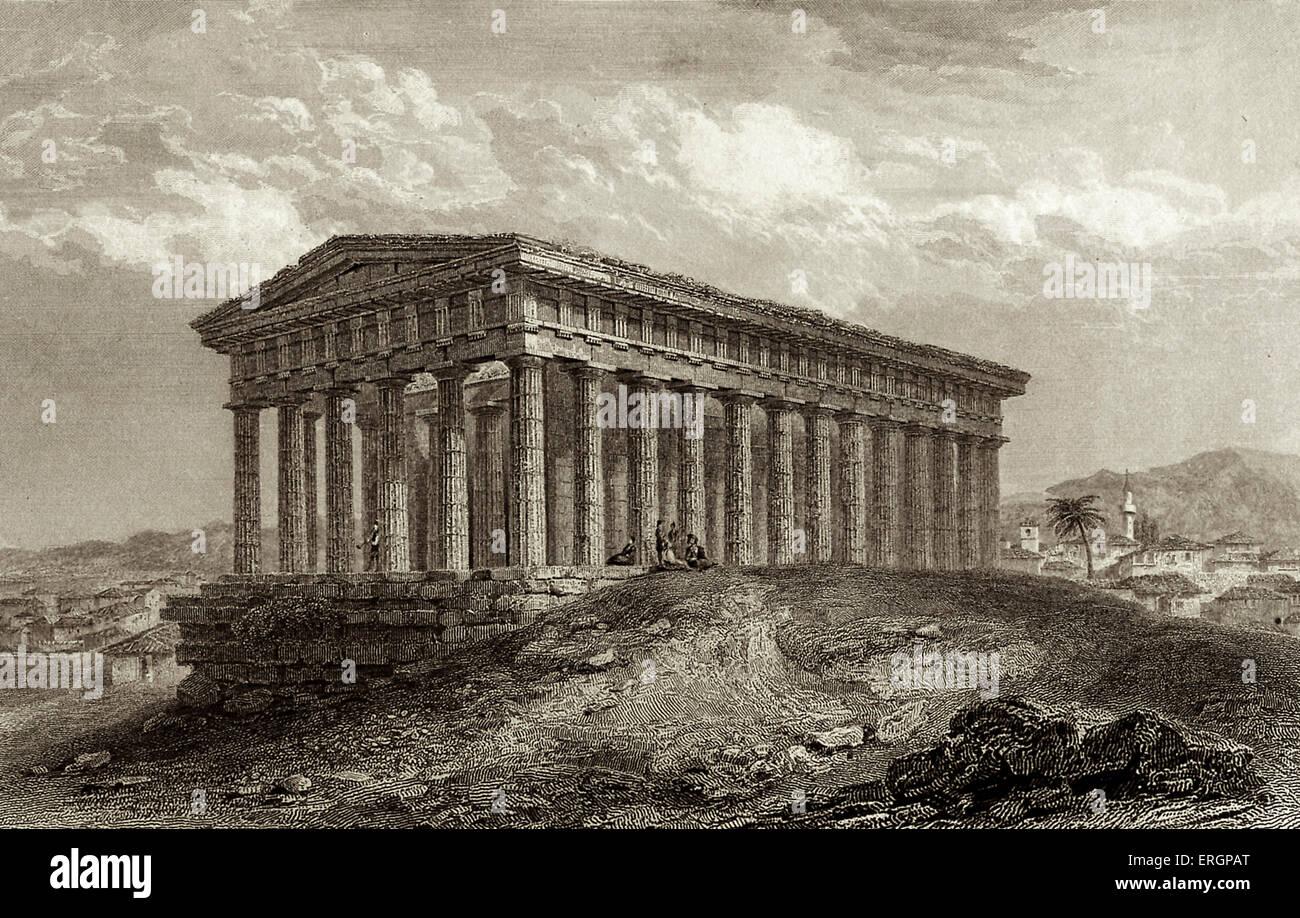 Templo de Teseo. Paisaje de Atenas una vez visitado por Lord Byron. Grabado de T. Higham después de dibujo Imagen De Stock