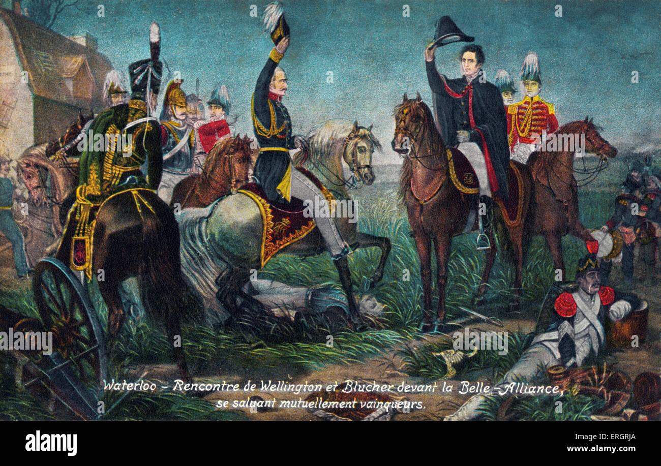 """, Batalla de Waterloo - Saludo de Wellington y Blucher antes del Belle Alliance"""" de 1815. Napoleón. Aliados. Imagen De Stock"""