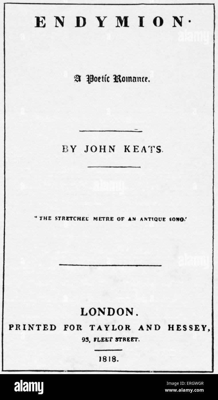 """""""Endymion""""; un poético romance por John Keats. 1818. Página de título. El poeta romántico inglés: 31 de octubre Foto de stock"""