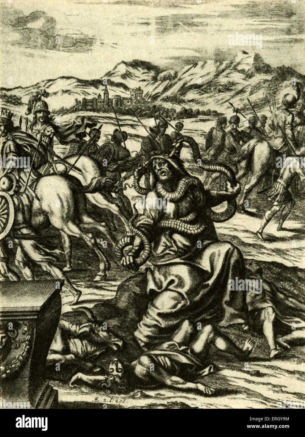 Laokoon. Representación de Laokoon en 'inglés' Virgilio por John Dryden, citado en Lessing's Laokoon Parte I, Capítulo Foto de stock