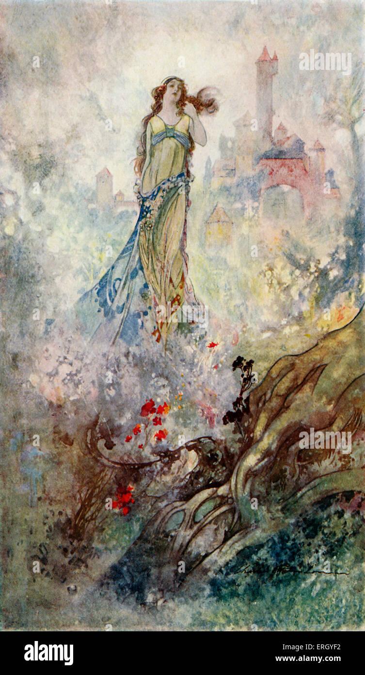 Princesa de jacinto en un tiempo 'Una vez' por A. A. Milne. Ilustración por Charles Robinson. AAM, Imagen De Stock