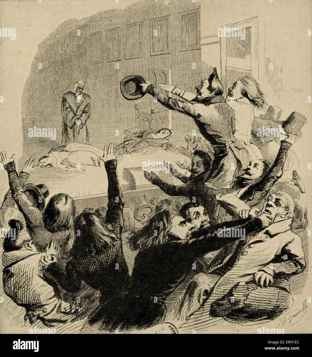 Estreno de Victor Hugo 's Hernani. Caricatura de la época. Ilustración mostrando el juego la caótica Imagen De Stock