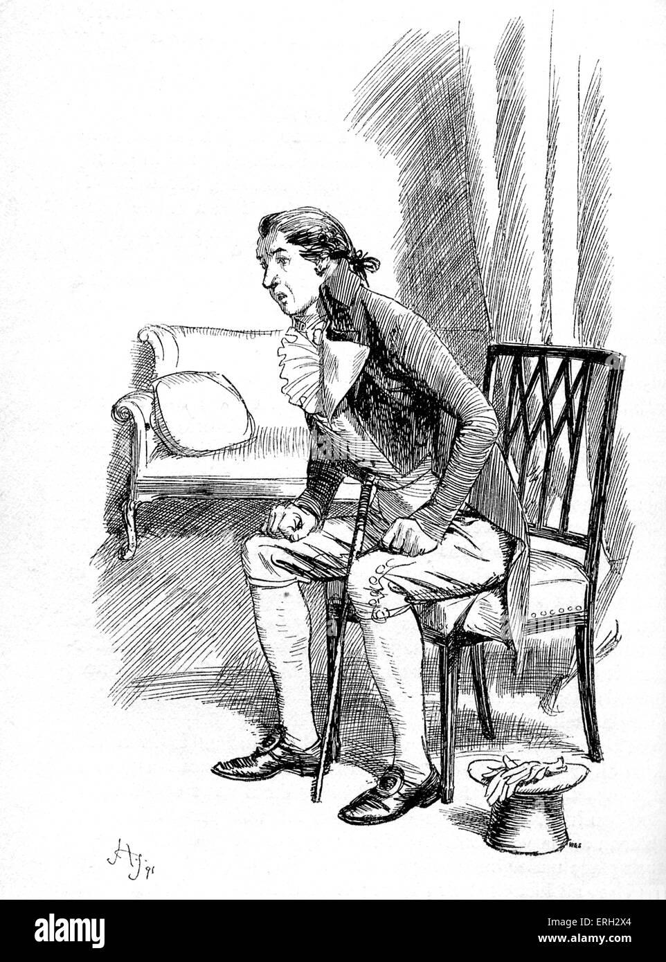 """""""Sentido y sensibilidad"""" de Jane Austen - Título: Edward lee habla de Fanny es condición con Imagen De Stock"""