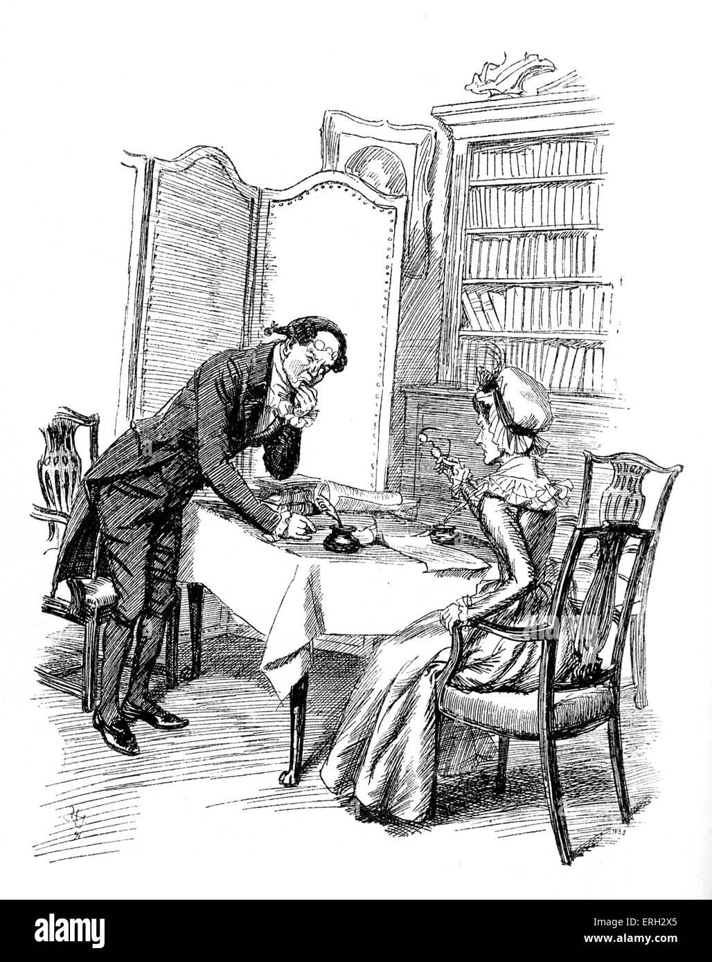 """""""Sentido y sensibilidad"""" de Jane Austen - título dice: La señora Ferrars conversaciones sobre Imagen De Stock"""