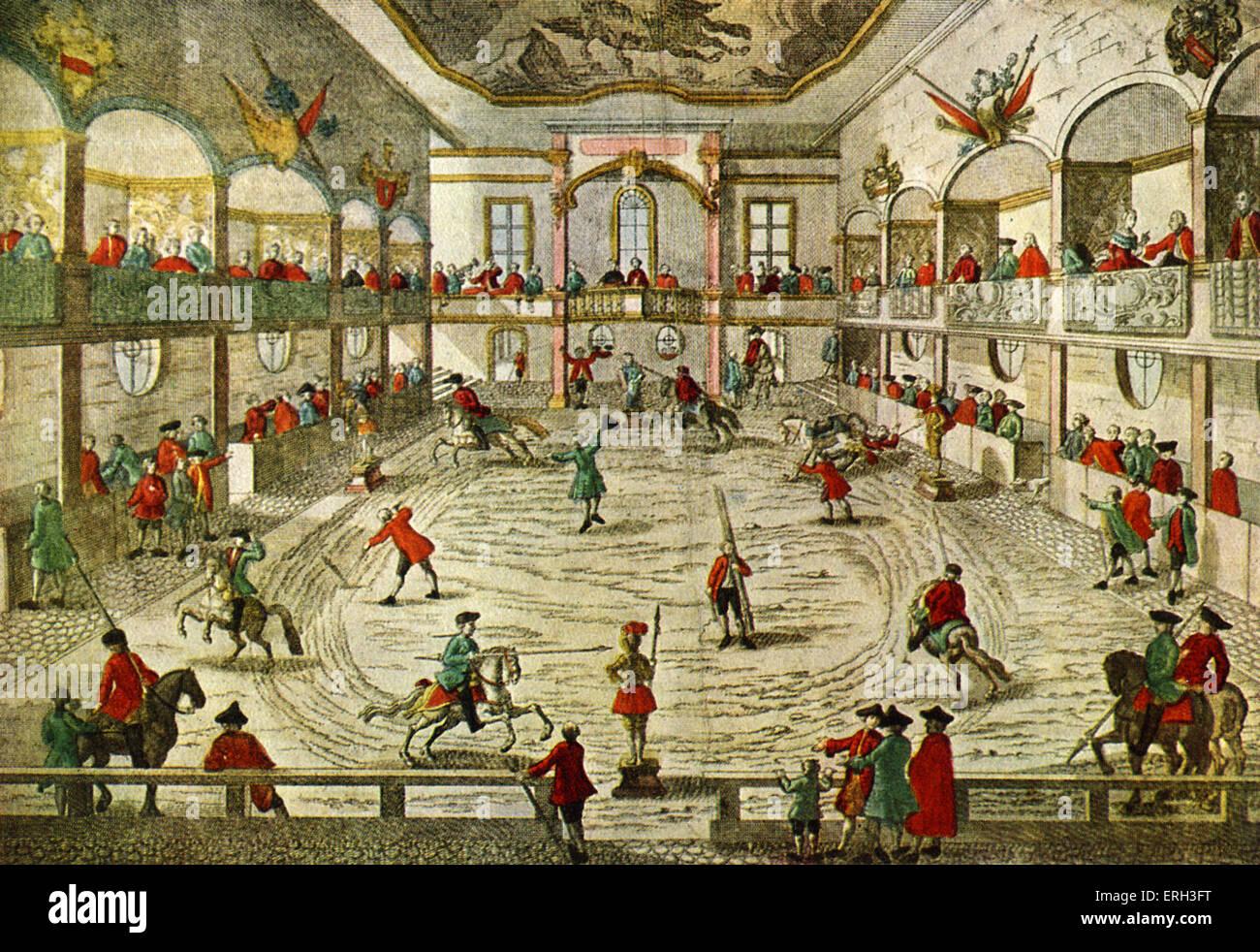 Una escuela de equitación del siglo XVIII, mostrando la transición al circo. ( Caballo práctica está siendo observado). Foto de stock