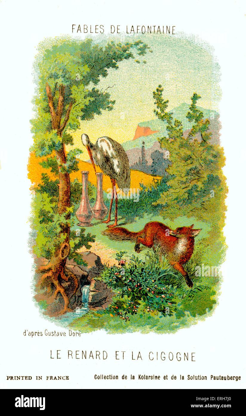 Le Renard et la Cigogne (El Zorro y la Cigüeña) - la fábula de La Fontaine.  Después de la ilustración de Gustave Doré. Jean de La Fotografía de stock -  Alamy