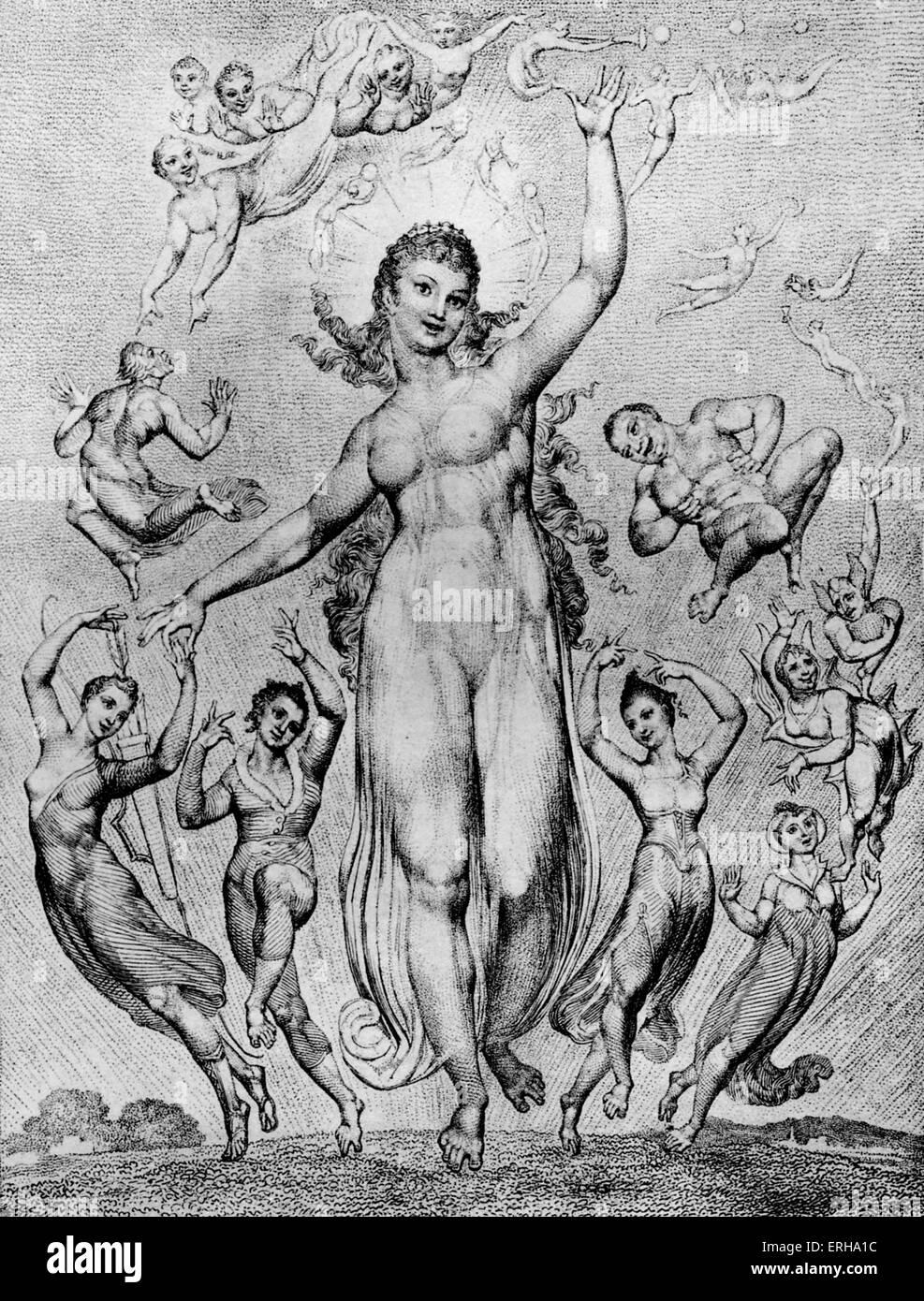 """Alegría y sus compañeros por William Blake. Ilustración de las líneas de Milton's 'L'Allegro"""": Imagen De Stock"""