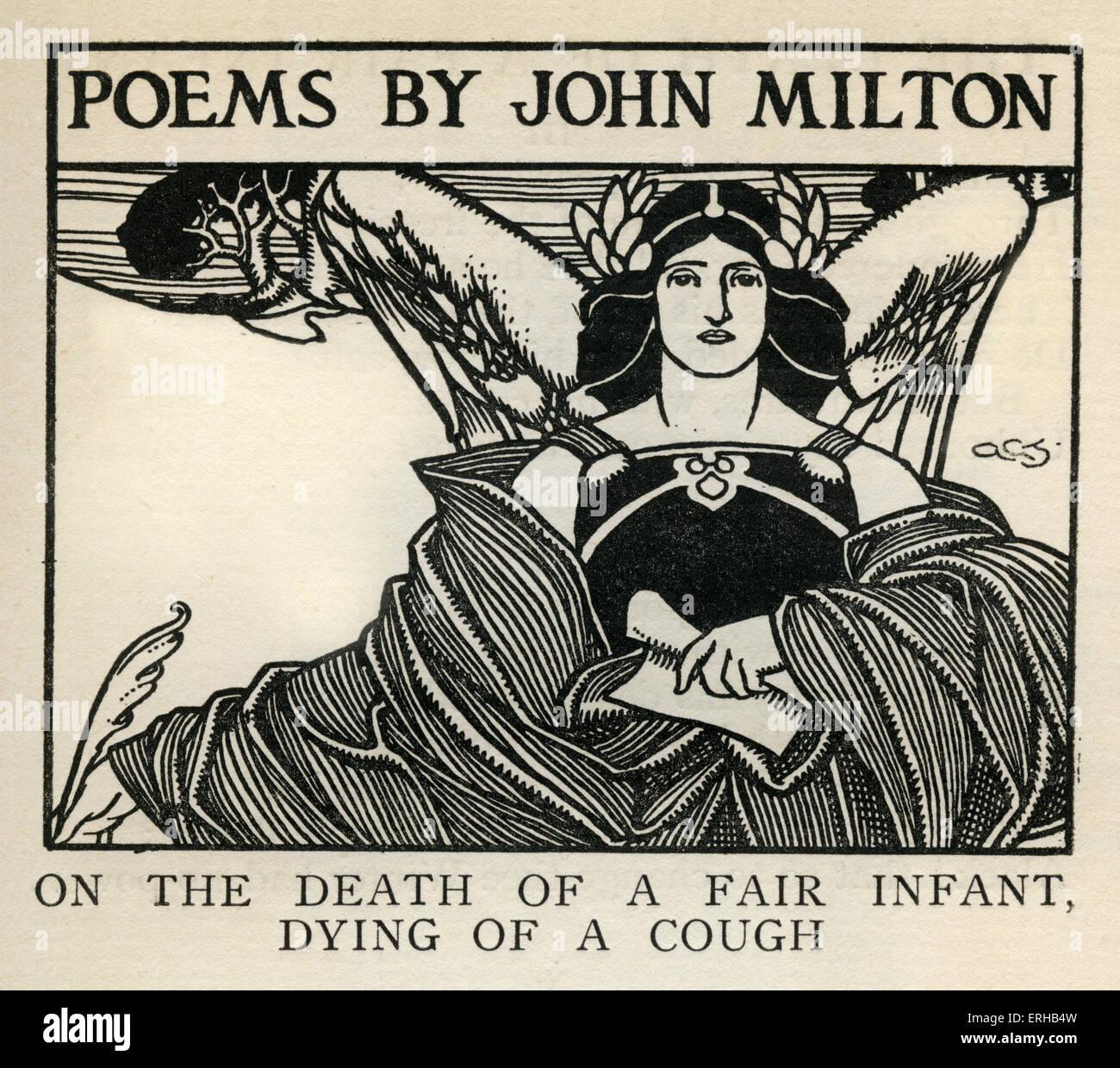 """A la muerte de un bebé justo, muriendo de una tos, por John Milton (1608-1674). Publicado en poemas de 1645, título reza: """"Poemas Foto de stock"""