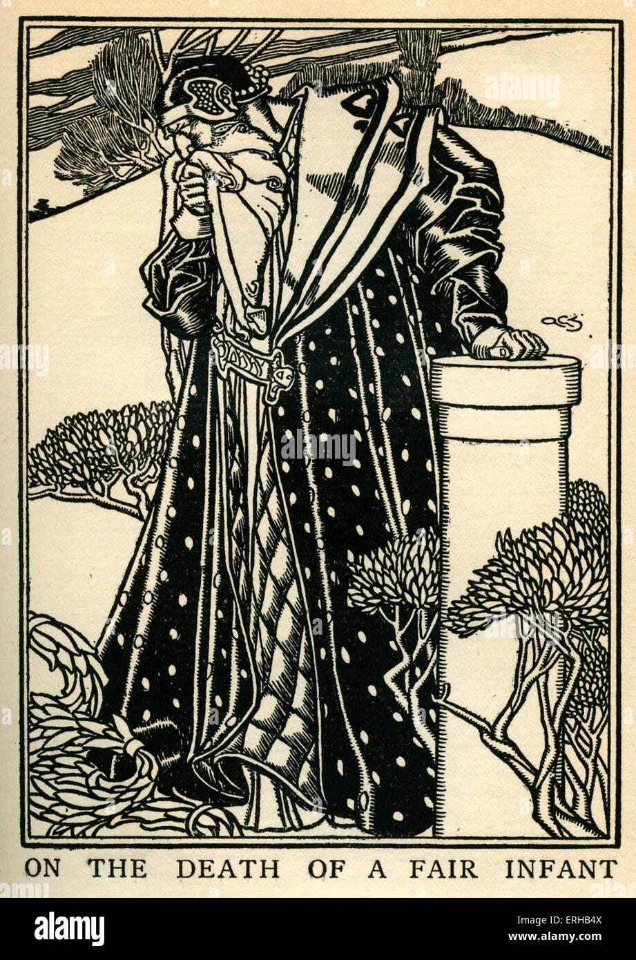 A la muerte de un bebé justo, muriendo de una tos, por John Milton (1608-1674). Publicado en poemas de 1645, título dice: 'En el Foto de stock