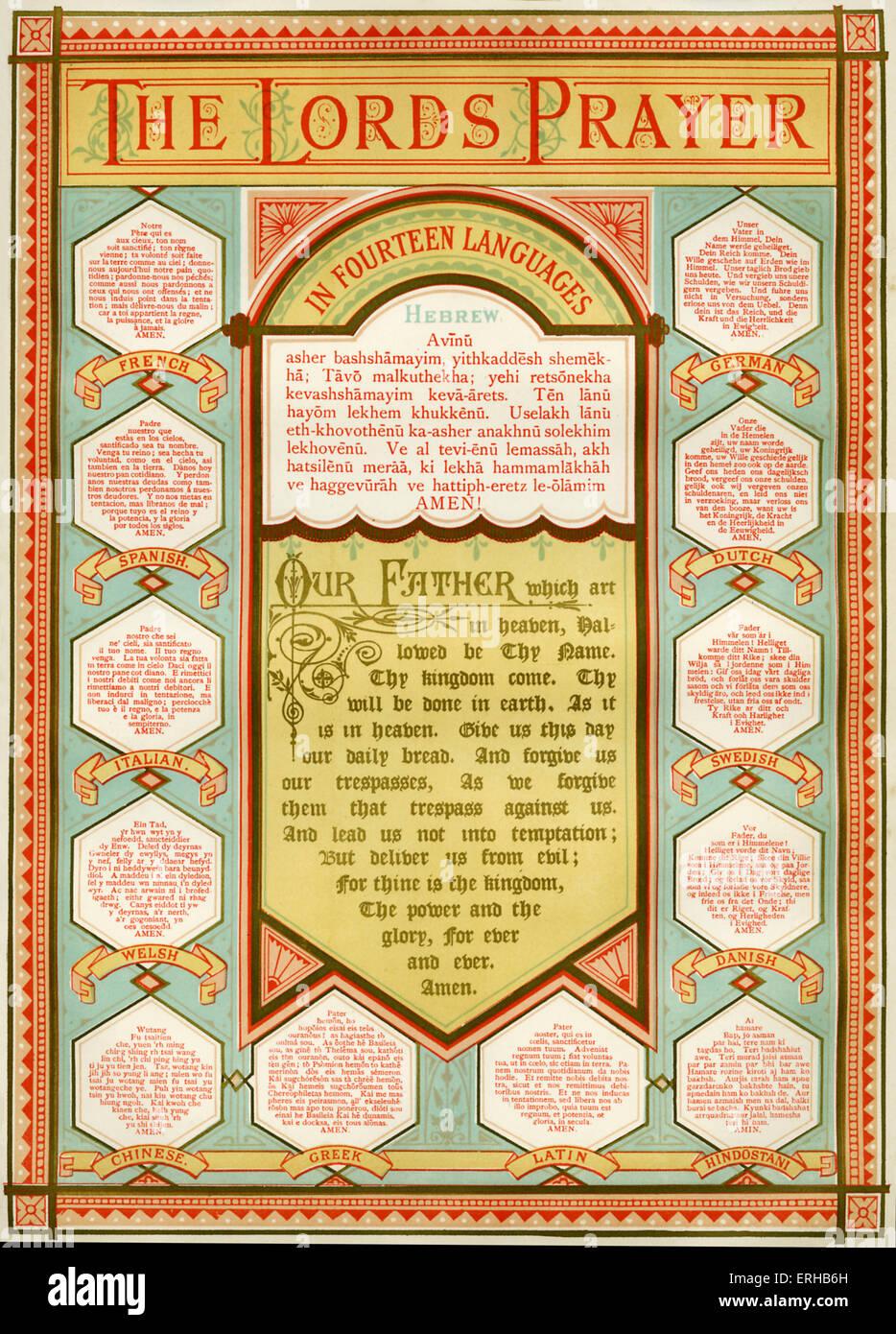 Versión ilustrada de la Oración del Señor en 14 idiomas, incluyendo el Hebreo, Francés, Español, Imagen De Stock