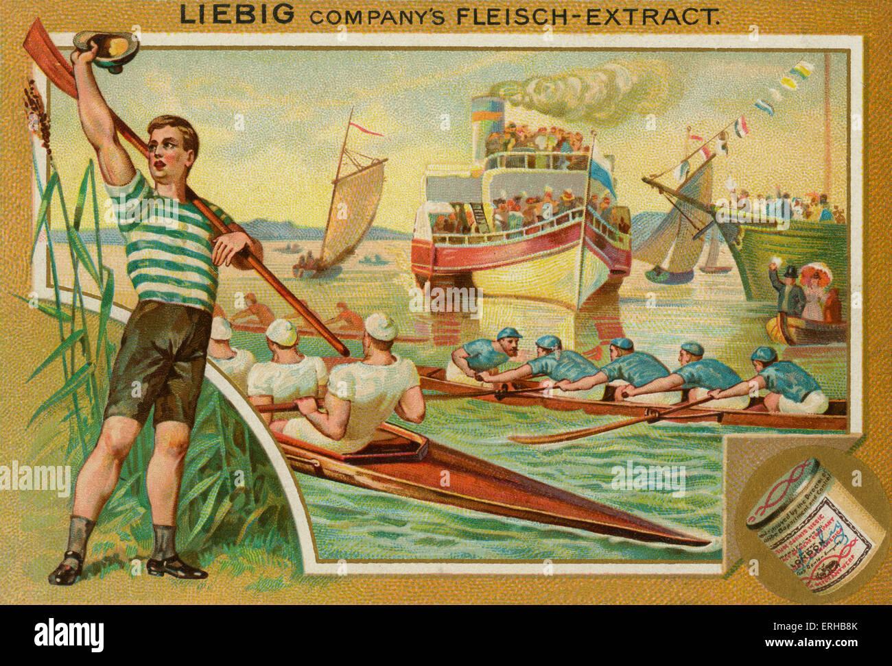 Una carrera de remo . Tarjetas Liebig, Deportes, 1896. Imagen De Stock