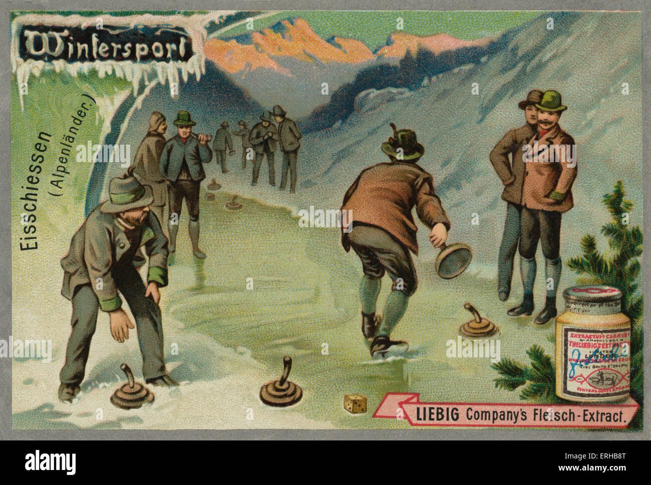 Ice stock sport // eisschiessen curling bávaro en los Alpes. Un juego similar al curling. Tarjetas Liebig, Imagen De Stock