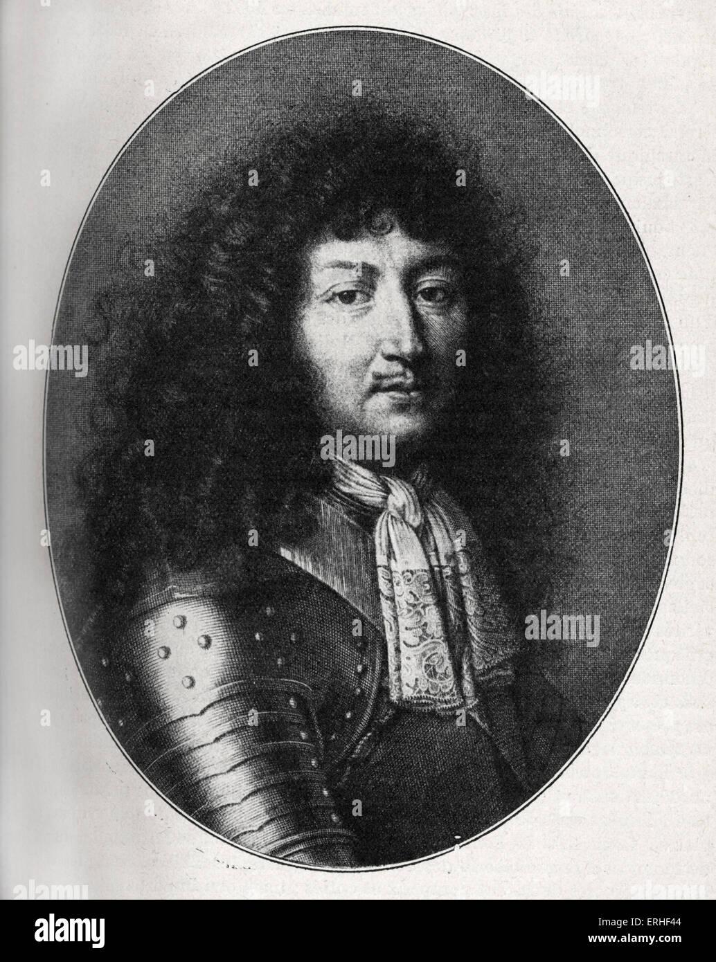 El rey de Francia Luis XIV (1638-1715), retrato en 1676, después de un grabado de F. de Poilly. Foto de stock