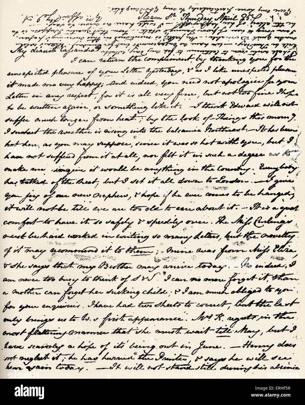 - Carta de Jane Austen novelista inglesa a su hermana Cassandra firmó con iniciales el 25 de abril el 16 de Imagen De Stock
