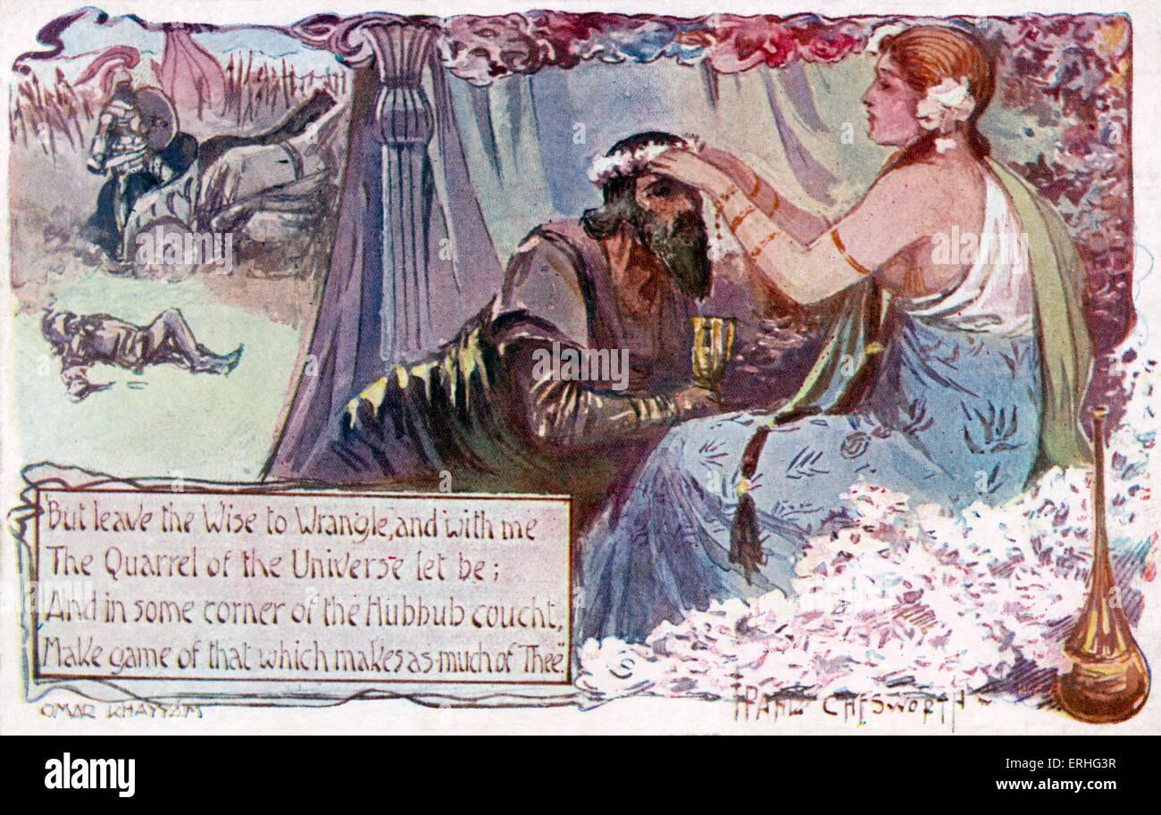 Rubaiyat De Omar Khayyam Poema E Ilustración Mostrando Un