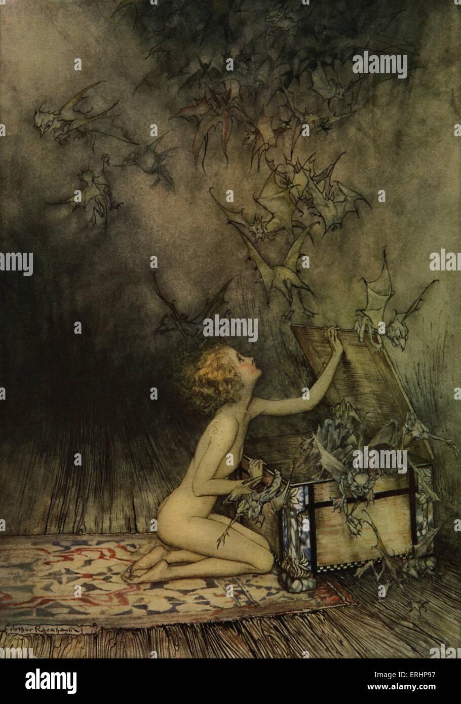 Joven y bat-como criaturas - Ilustración de Arthur Rackham, ilustrador del libro en inglés, el 19 de septiembre Imagen De Stock