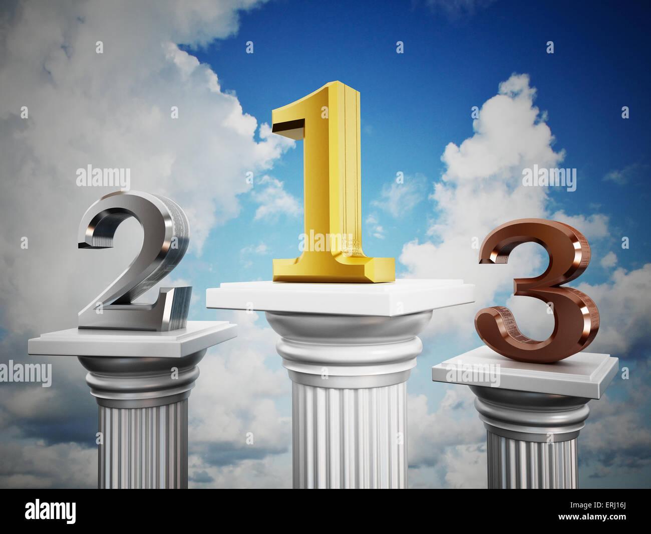 Número 1, 2 y 3 de pie sobre pilares. Imagen De Stock