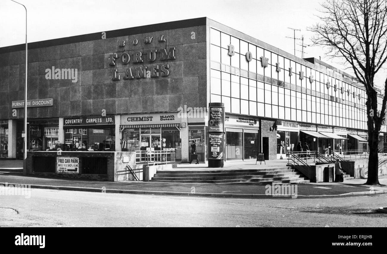El Foro centro comercial Lanes. 13 de abril de 1979 Imagen De Stock