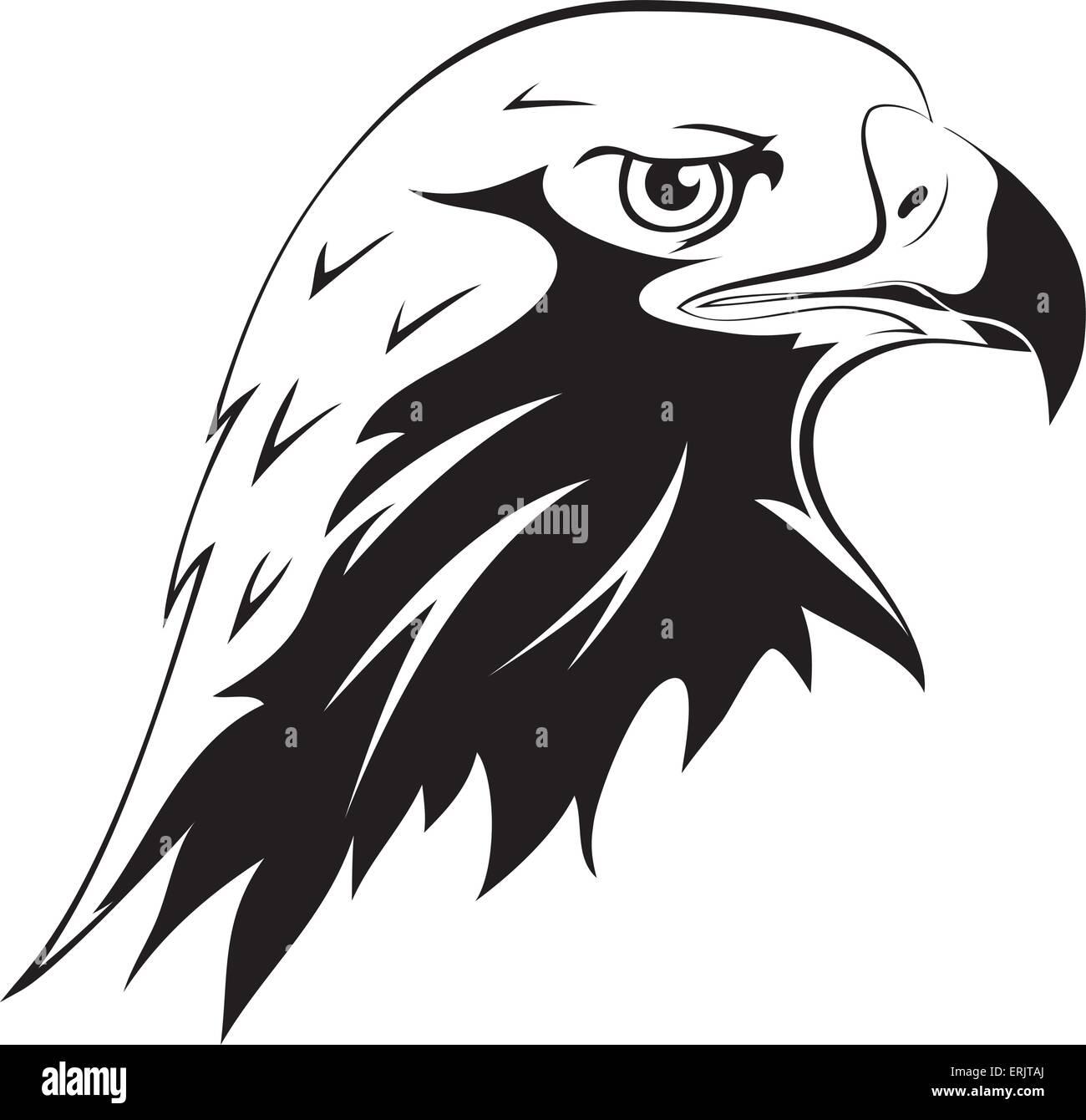 Un depredador salvaje tatuajes vector silueta negra de una cabeza de águila