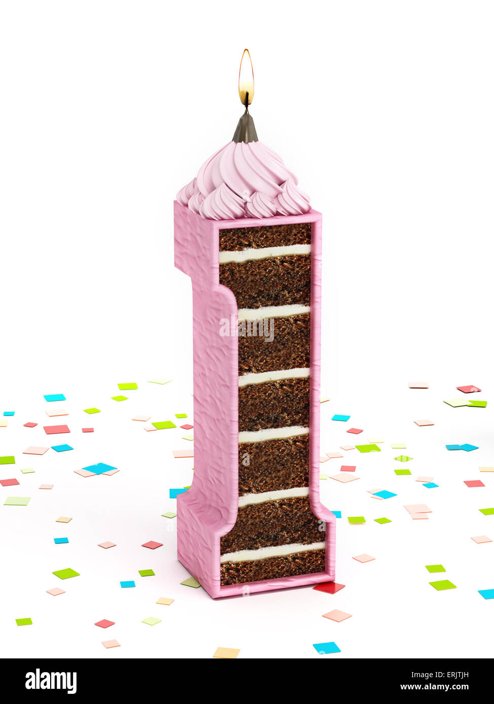 Número 1 de chocolate con forma de tarta de cumpleaños con velas encendidas. Imagen De Stock