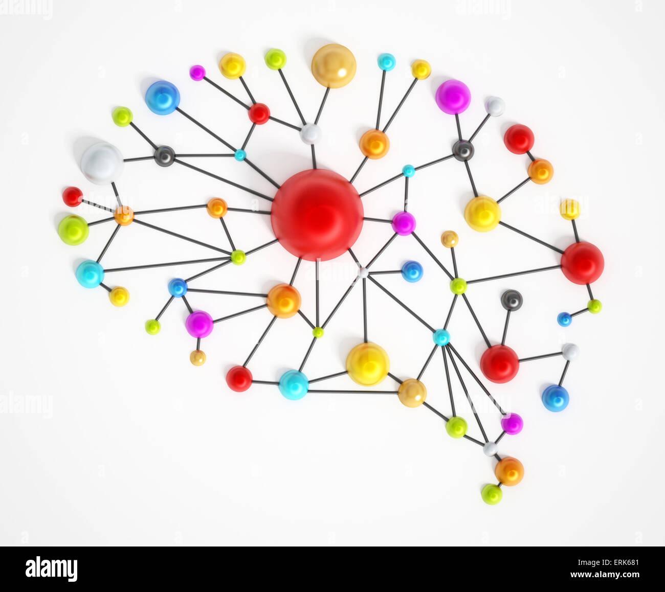 Red cerebral con coloridos puntos conectados. Imagen De Stock
