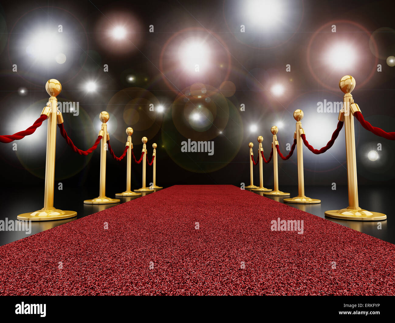 Alfombra roja en la noche con destellos concepto Foto de stock