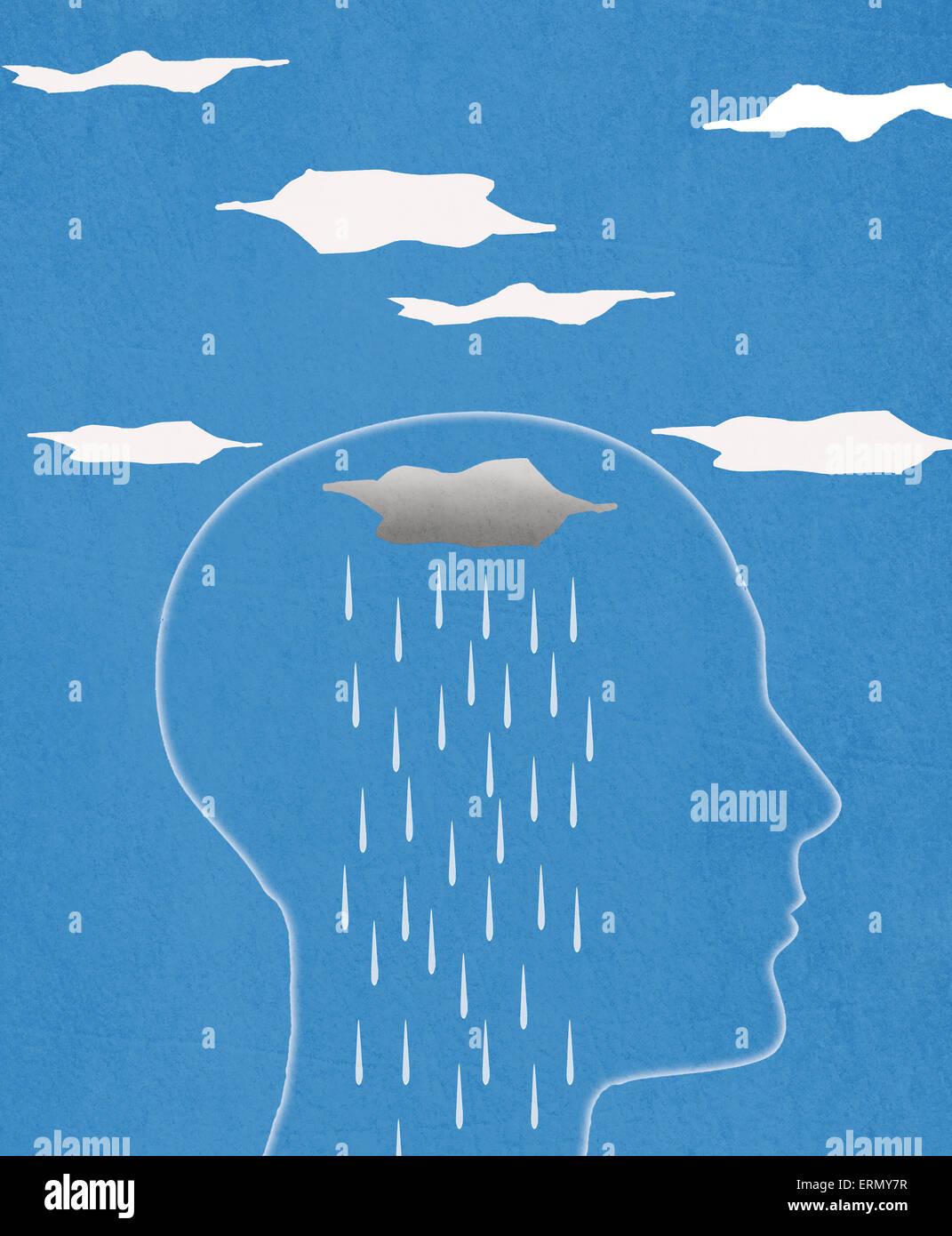 Silueta de la cabeza y la lluvia ilustración digital Imagen De Stock