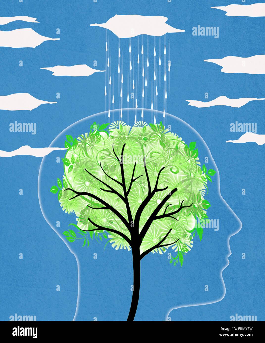 Silueta de la cabeza con el árbol y la lluvia ilustración digital Imagen De Stock