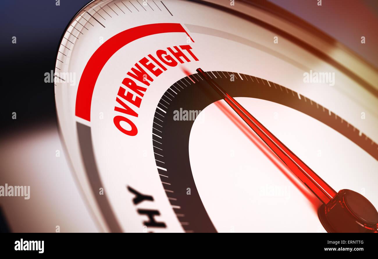 Báscula de baño con la aguja apuntando hacia la palabra sobrepeso. 3D Render conceptual adecuada para Imagen De Stock