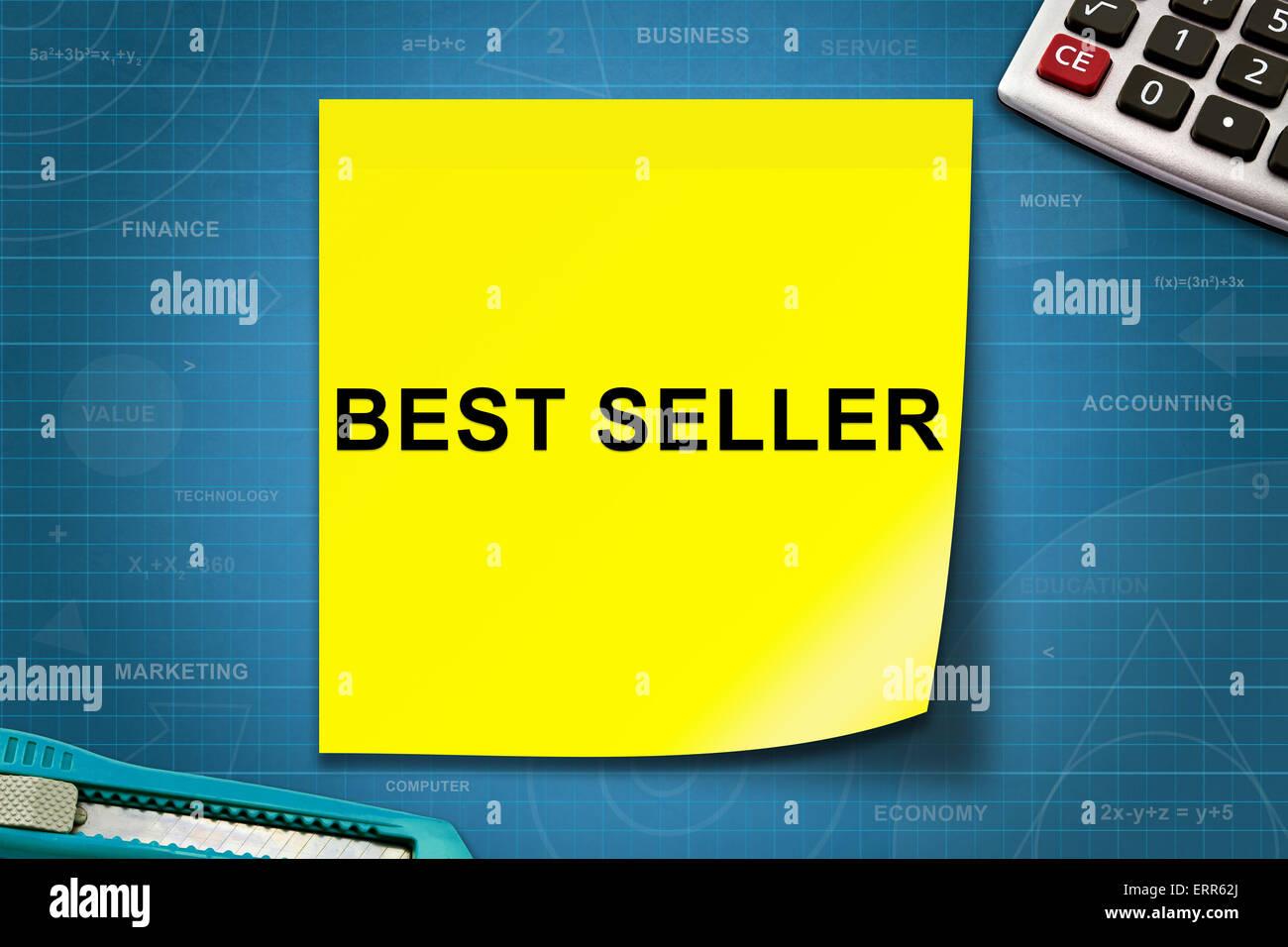 Best Seller texto en amarillo nota con papel de gráfico Foto de stock