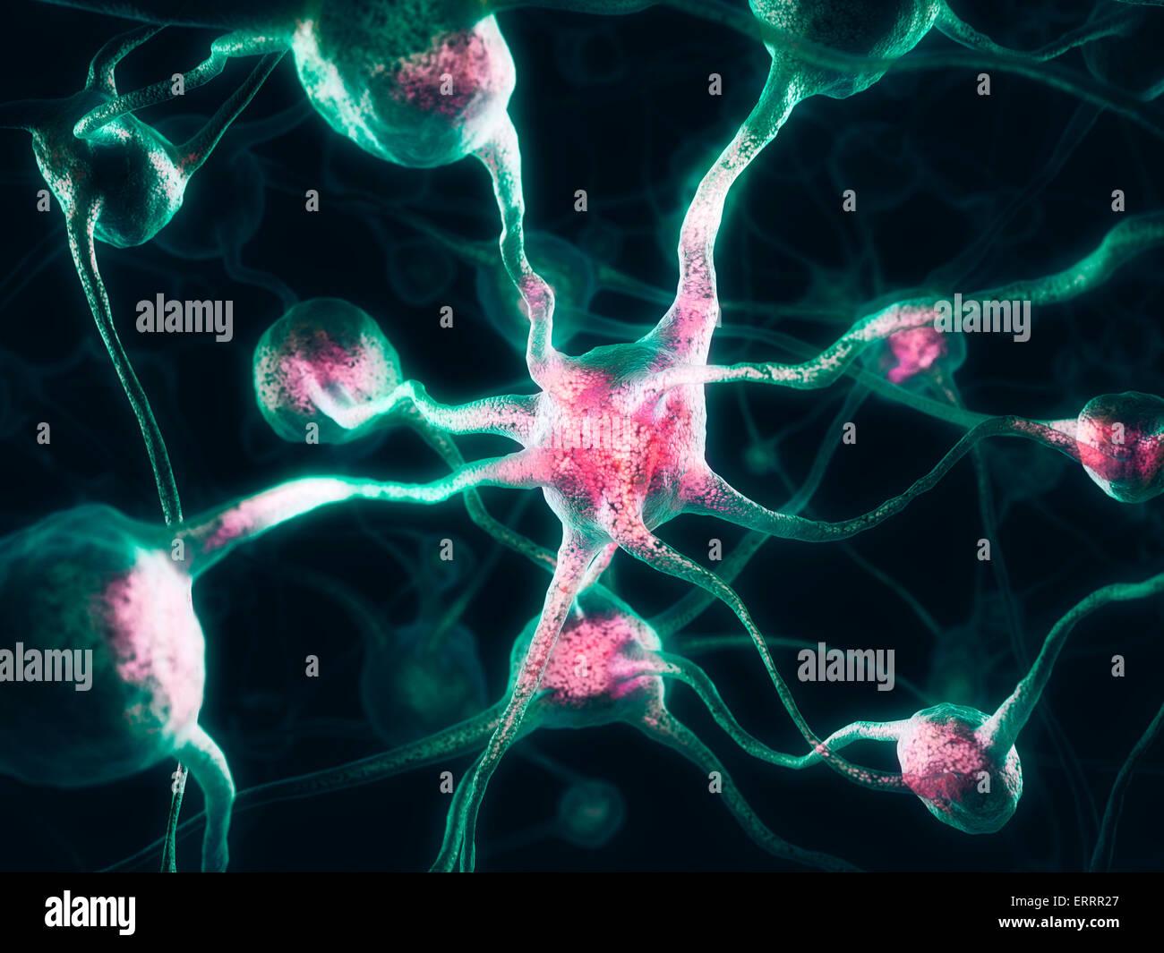 Las neuronas, el sistema nervioso, las células cerebrales ilustración 3D Imagen De Stock