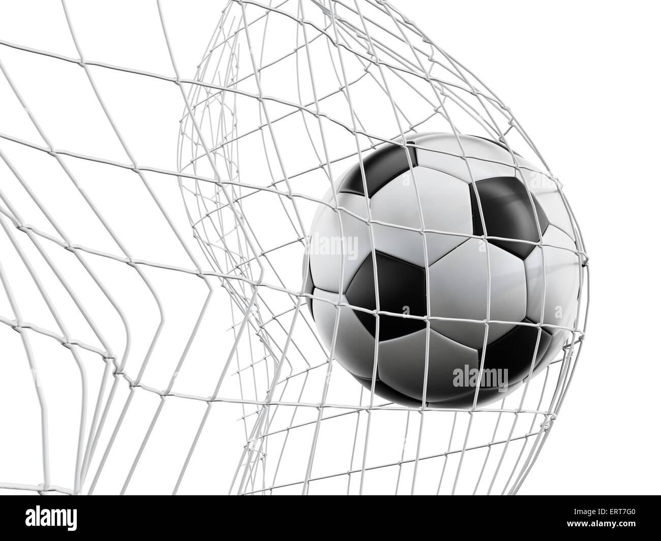Balón de fútbol o fútbol en la red aislada sobre fondo blanco. Imagen De Stock