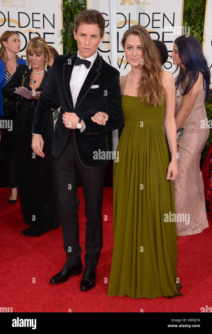 El actor Eddie Redmayne y Hannah Bagshawe, Los Angeles, CA Foto de stock