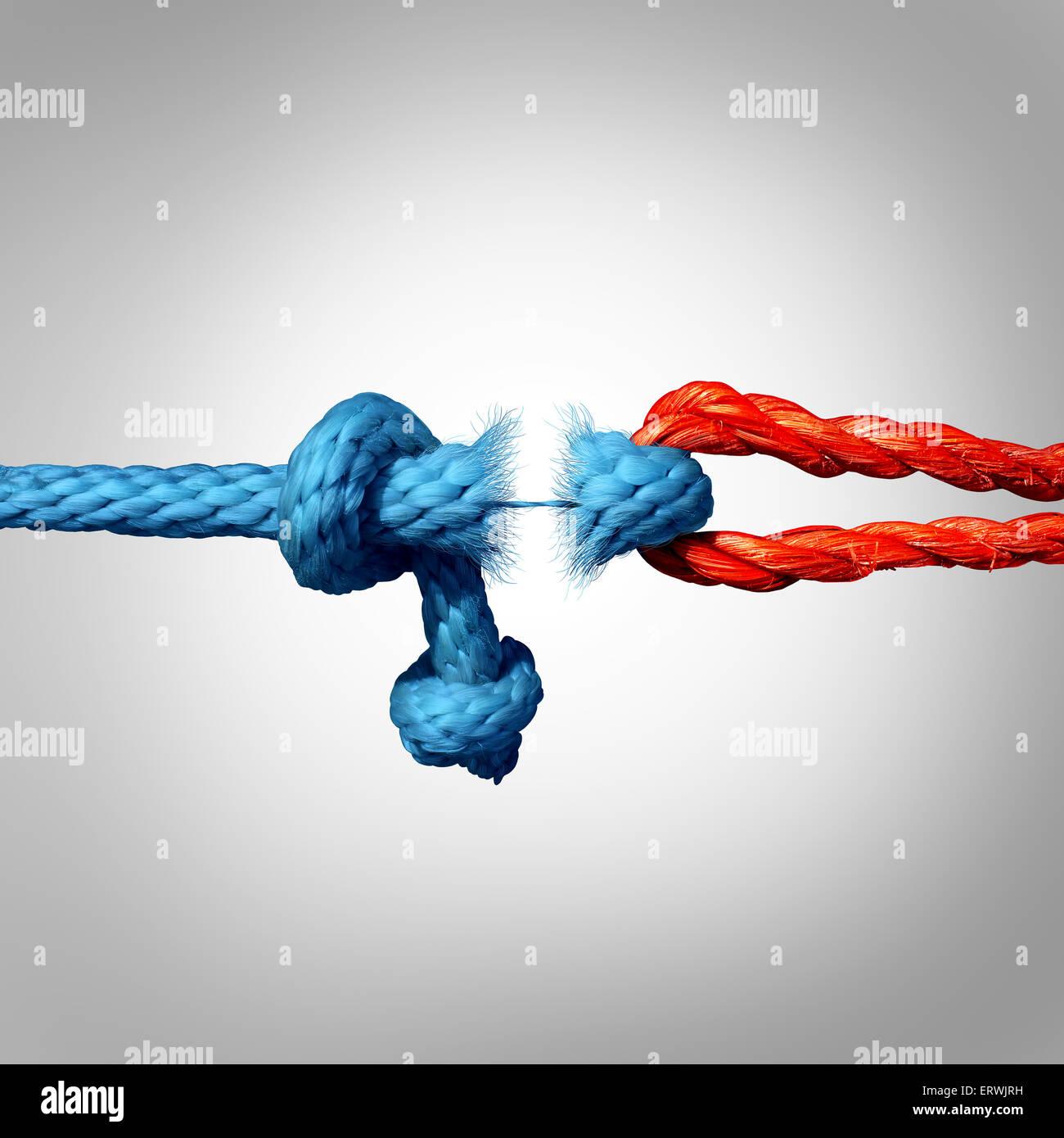 Concepto separado y símbolo de desconectado como dos cuerdas atadas y vincula a romper la cadena y perder la Imagen De Stock