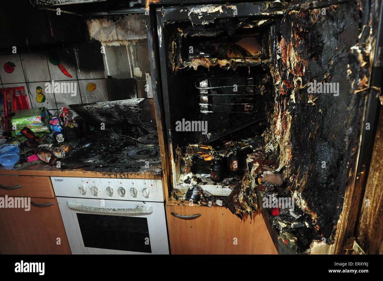 Cocina Quemada Despues De Los Incendios Ocasionados Por