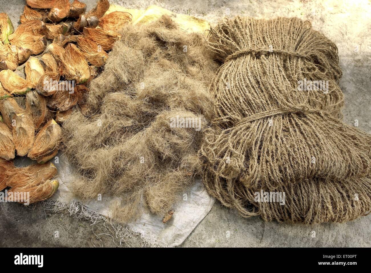 Las tres fases de la cáscara de coco y coco Coir cuerdas ; India Foto de stock