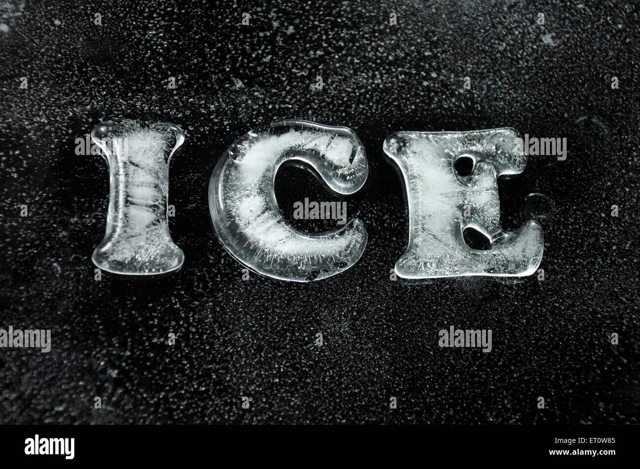 La palabra hielo en hielo cartas India Asia Imagen De Stock