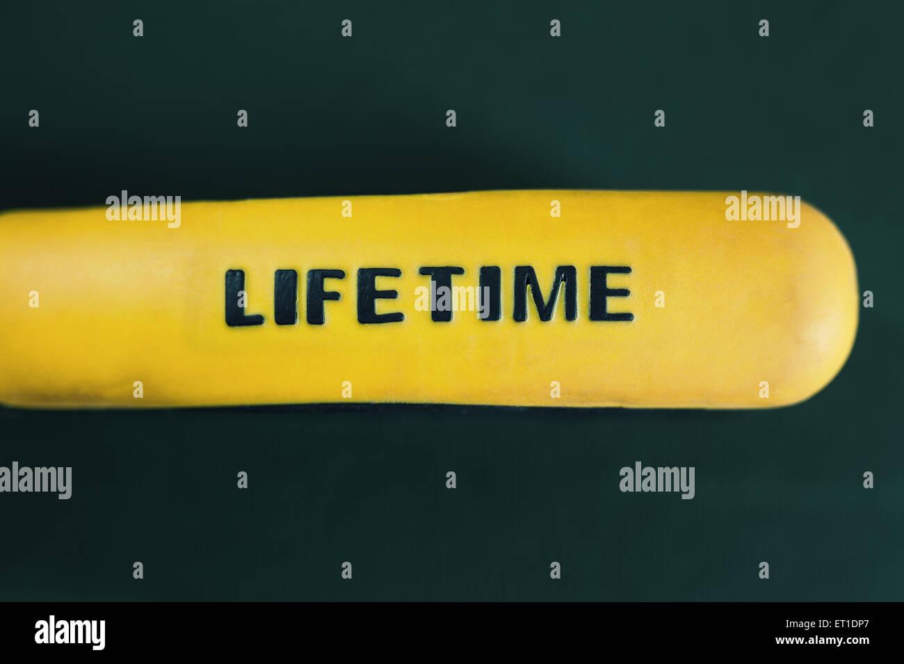 Composición simple, el título vitalicio de goma de color amarillo sobre fondo verde, palo de desenfoque. Imagen De Stock