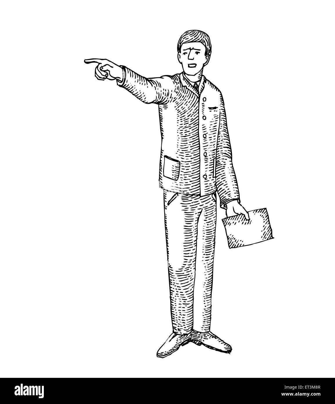 El hombre enojado con papeles Imagen De Stock