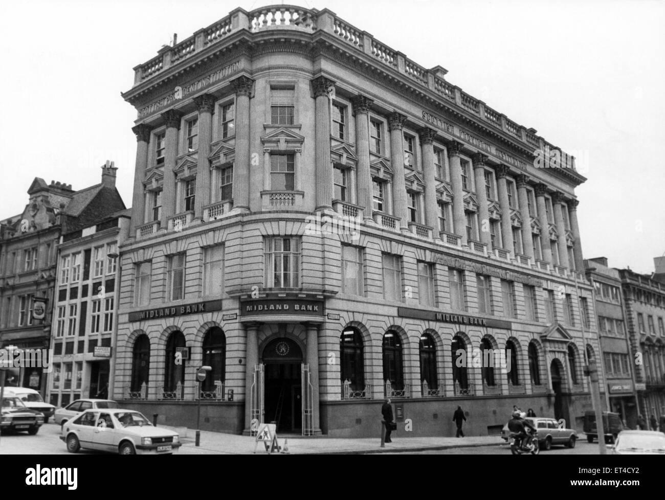 El Midland Bank, Newcastle. 20 de febrero de 1983. Imagen De Stock