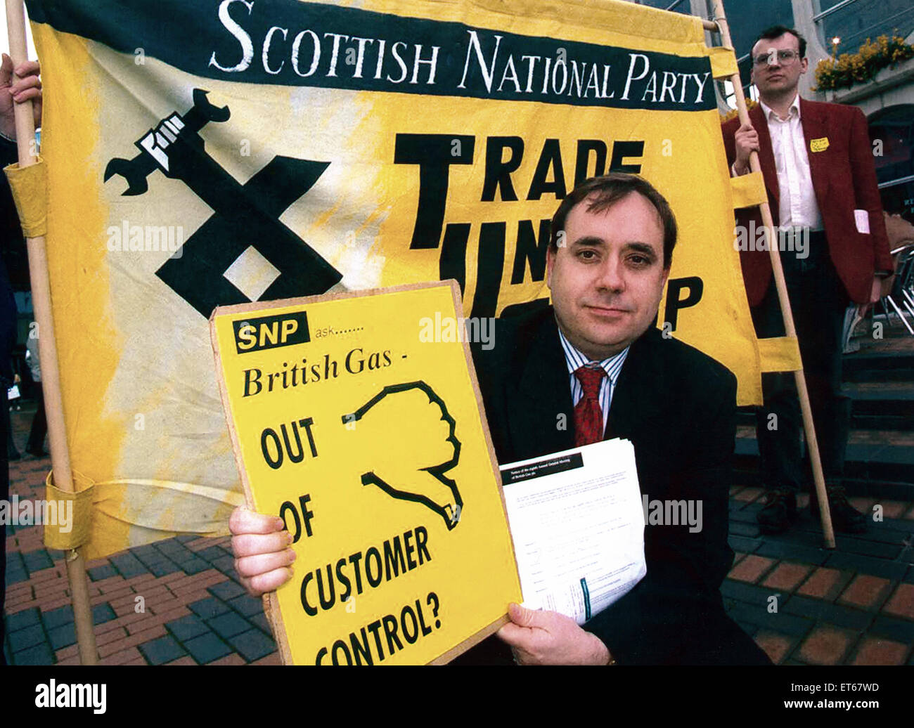 Alex Salmond en el SNP demo en la CCI, en Birmingham. El 28 de abril de 1994. Imagen De Stock