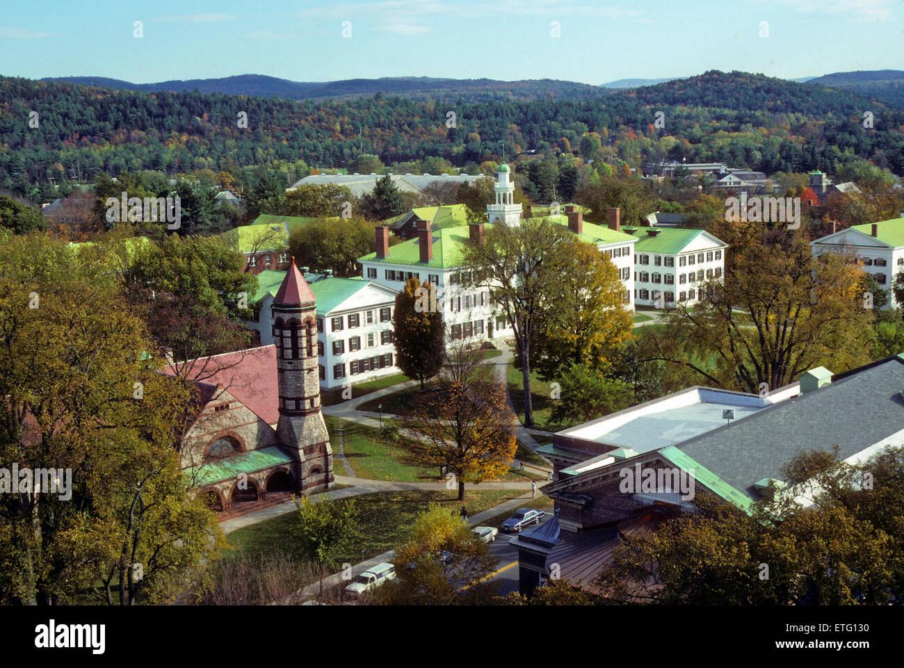 Vista elevada del campus del Dartmouth College en Hanover, New Hampshire, Estados Unidos - una escuela Ivy League. Imagen De Stock