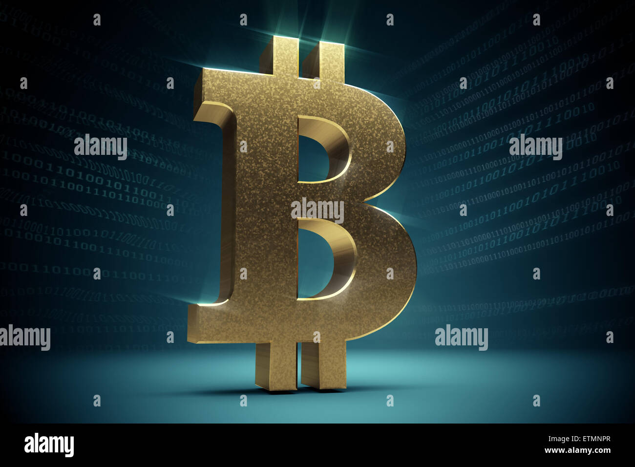 Representación estilizada de Bitcoin, una moneda digital. Imagen De Stock