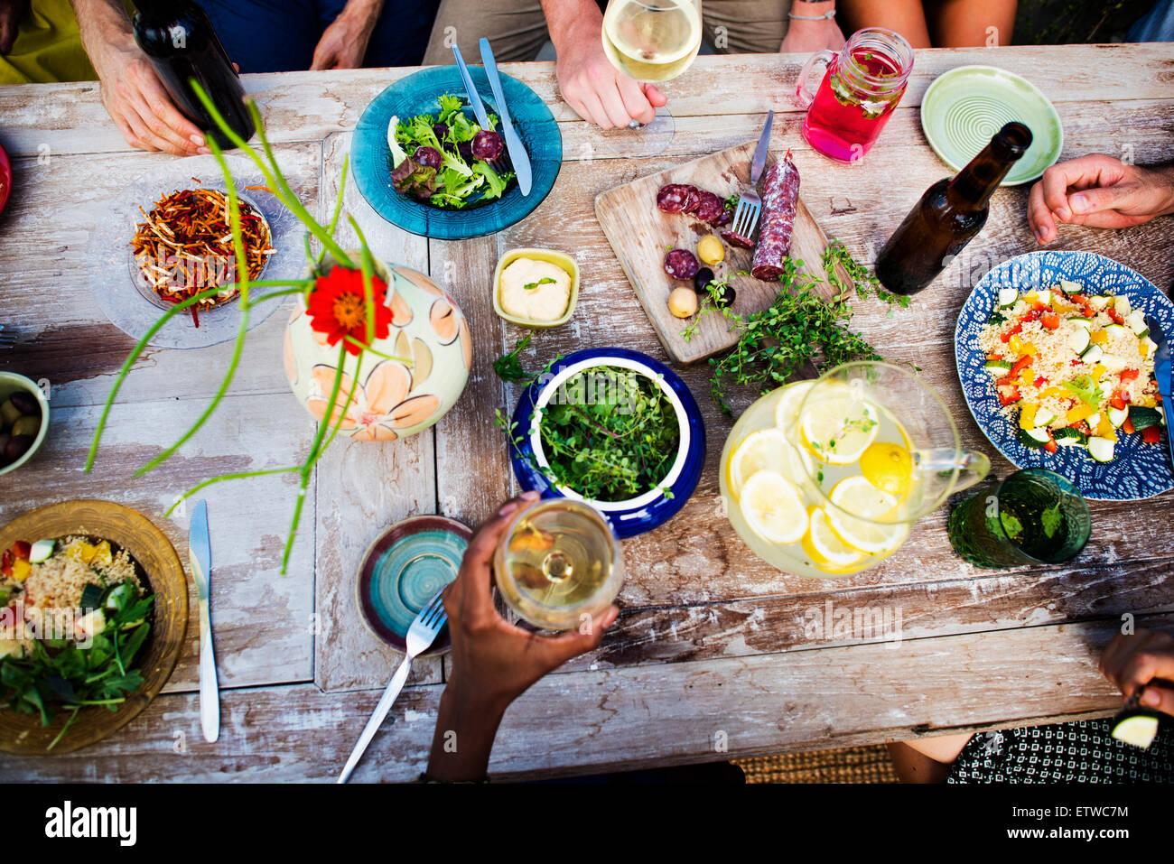 Alimentos bebidas comida fiesta beben concepto Imagen De Stock