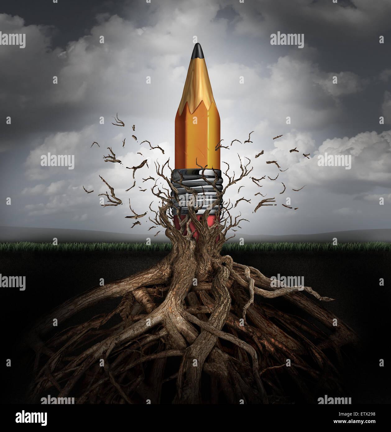 Concepto y creatividad Creatividad símbolo como el surgimiento de ideas y la innovación como un lápiz Imagen De Stock