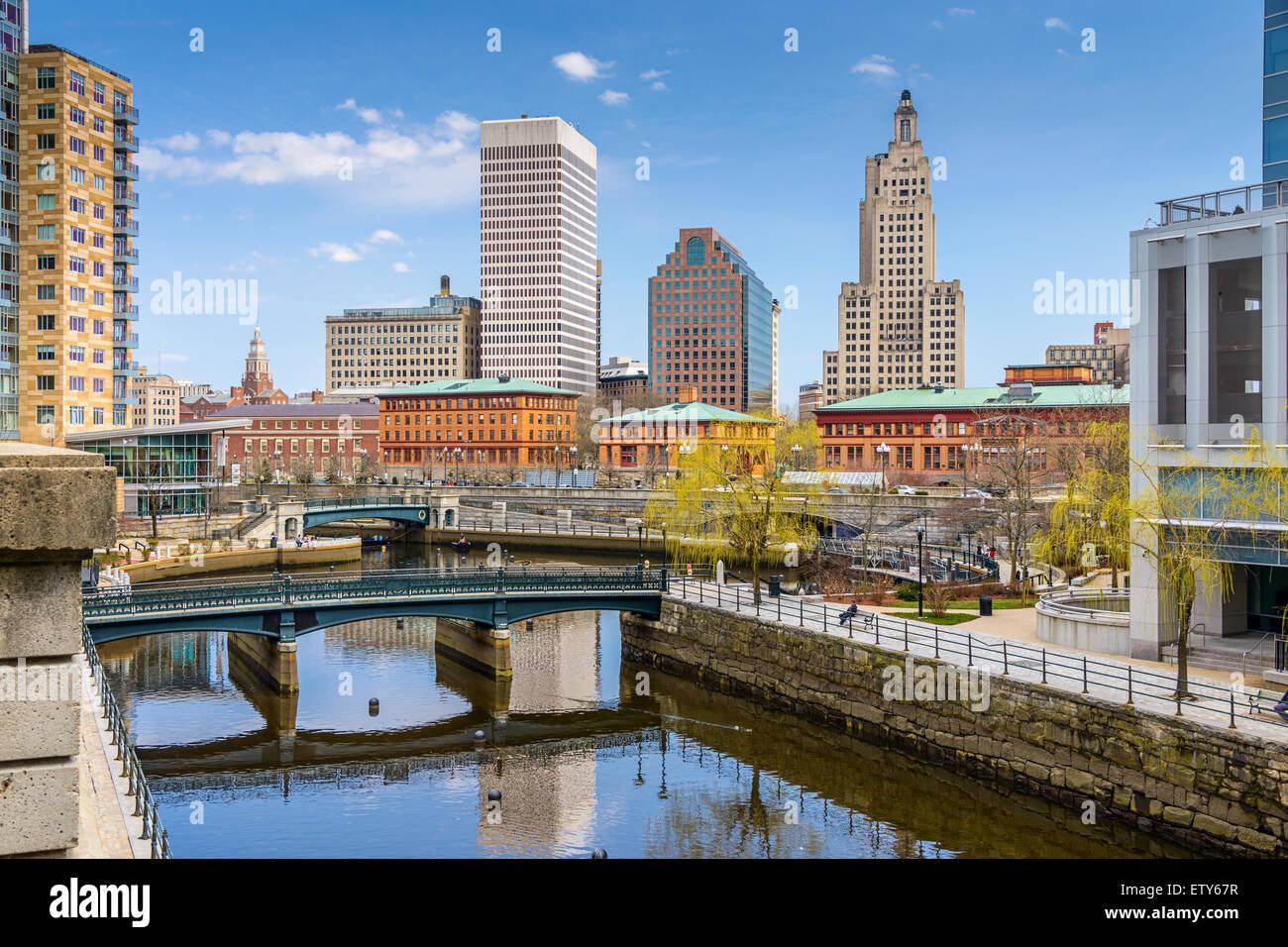 Providence, Rhode Island, EE.UU skyline en Waterplace Park. Foto de stock